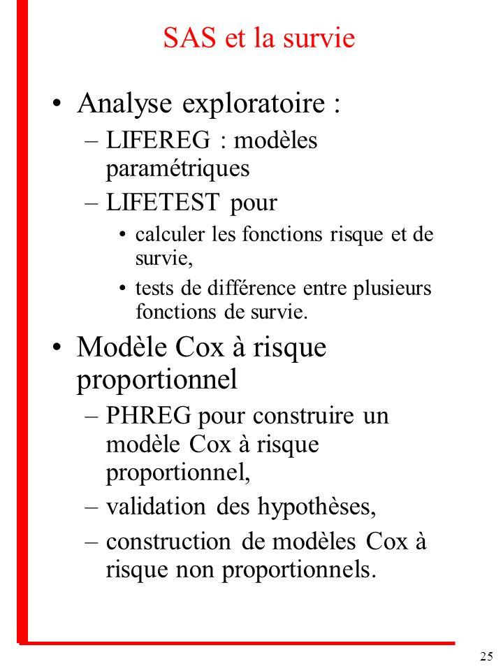 25 SAS et la survie Analyse exploratoire : –LIFEREG : modèles paramétriques –LIFETEST pour calculer les fonctions risque et de survie, tests de différ