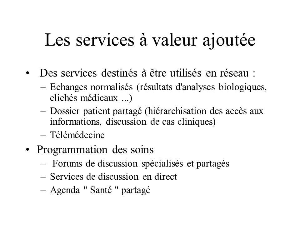 Les services à valeur ajoutée Des services destinés à être utilisés en réseau : –Echanges normalisés (résultats d'analyses biologiques, clichés médica