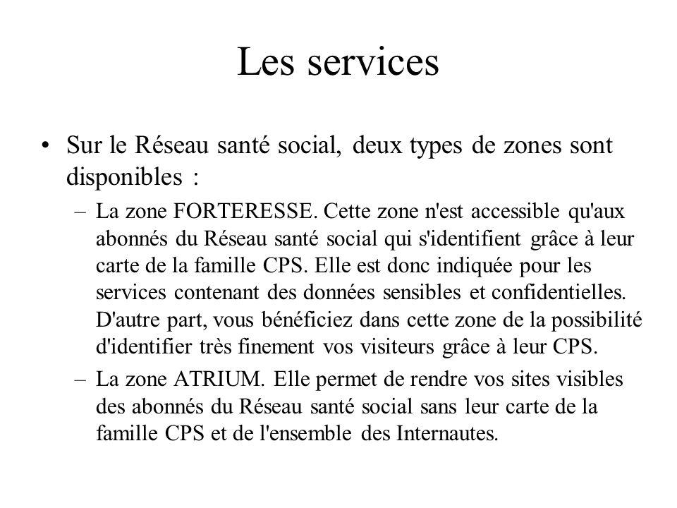 Les services Sur le Réseau santé social, deux types de zones sont disponibles : –La zone FORTERESSE. Cette zone n'est accessible qu'aux abonnés du Rés