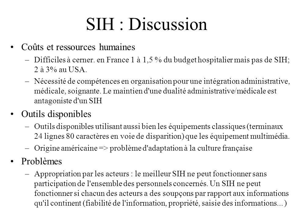 SIH : Discussion Coûts et ressources humaines –Difficiles à cerner. en France 1 à 1,5 % du budget hospitalier mais pas de SIH; 2 à 3% au USA. –Nécessi