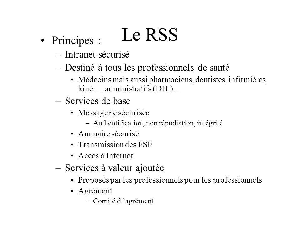 Le RSS Principes : –Intranet sécurisé –Destiné à tous les professionnels de santé Médecins mais aussi pharmaciens, dentistes, infirmières, kiné…, admi