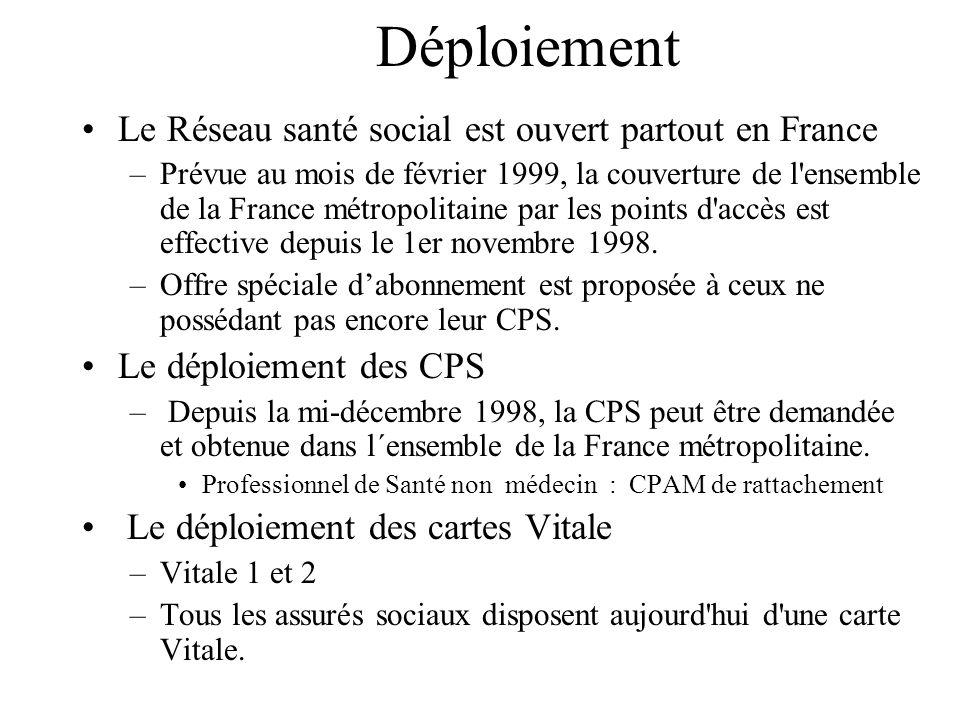Déploiement Le Réseau santé social est ouvert partout en France –Prévue au mois de février 1999, la couverture de l'ensemble de la France métropolitai