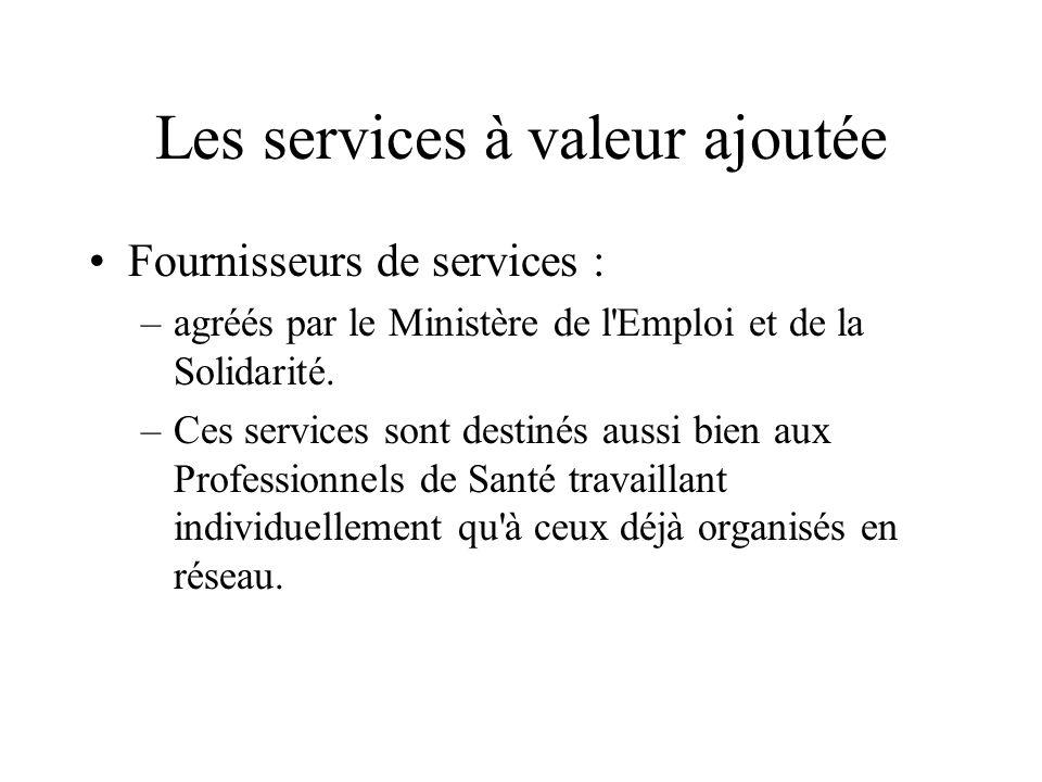 Les services à valeur ajoutée Fournisseurs de services : –agréés par le Ministère de l'Emploi et de la Solidarité. –Ces services sont destinés aussi b