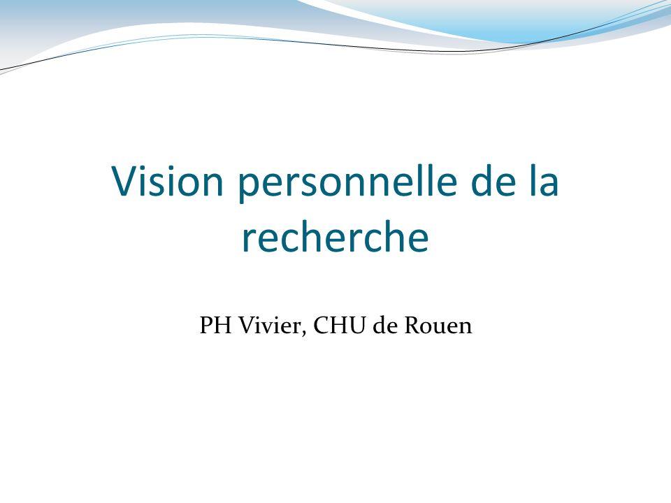 Vision personnelle de la recherche PH Vivier, CHU de Rouen