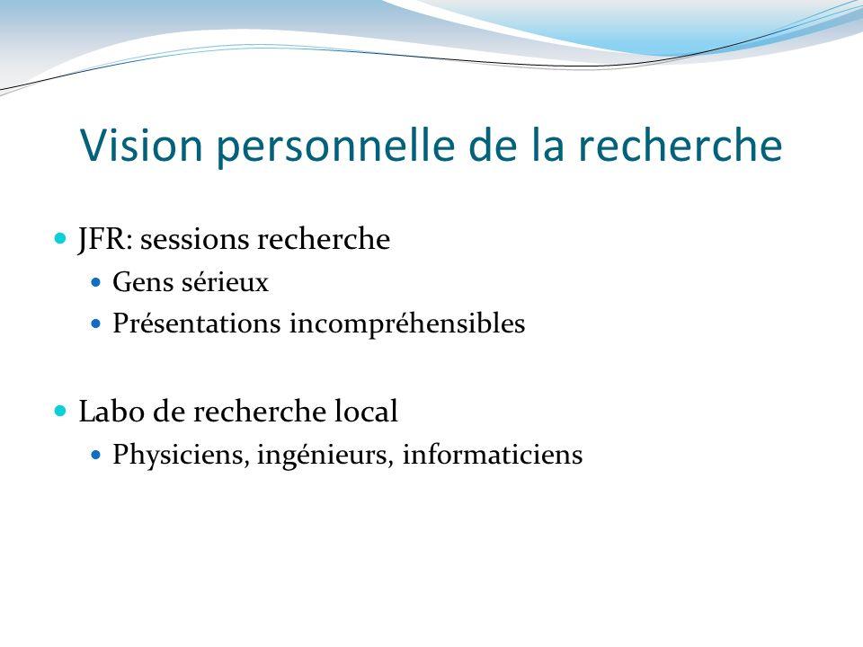Vision personnelle de la recherche JFR: sessions recherche Gens sérieux Présentations incompréhensibles Labo de recherche local Physiciens, ingénieurs