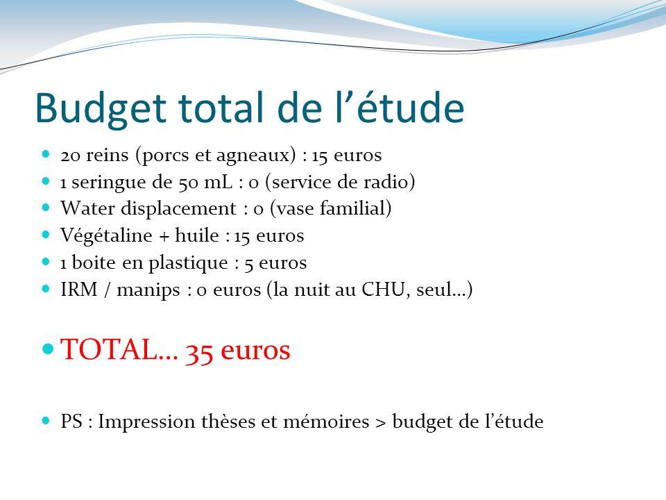 Budget total de létude 20 reins (porcs et agneaux) : 15 euros 1 seringue de 50 mL : 0 (service de radio) Water displacement : 0 (vase familial) Végéta