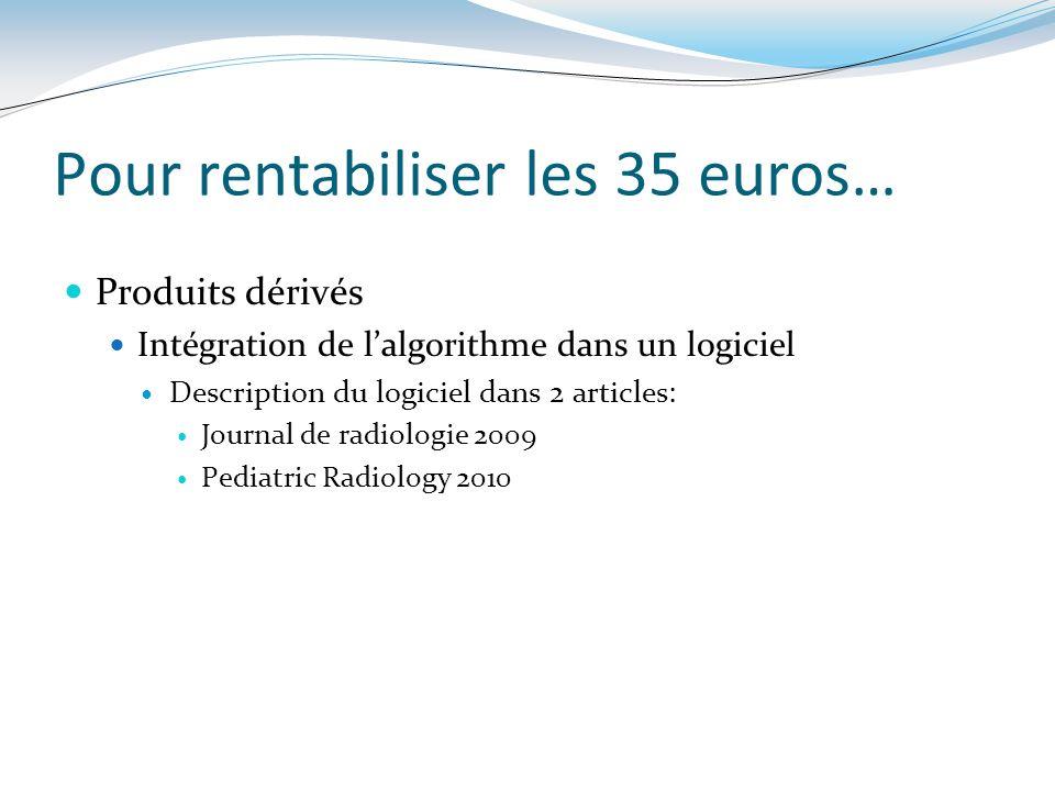 Produits dérivés Intégration de lalgorithme dans un logiciel Description du logiciel dans 2 articles: Journal de radiologie 2009 Pediatric Radiology 2