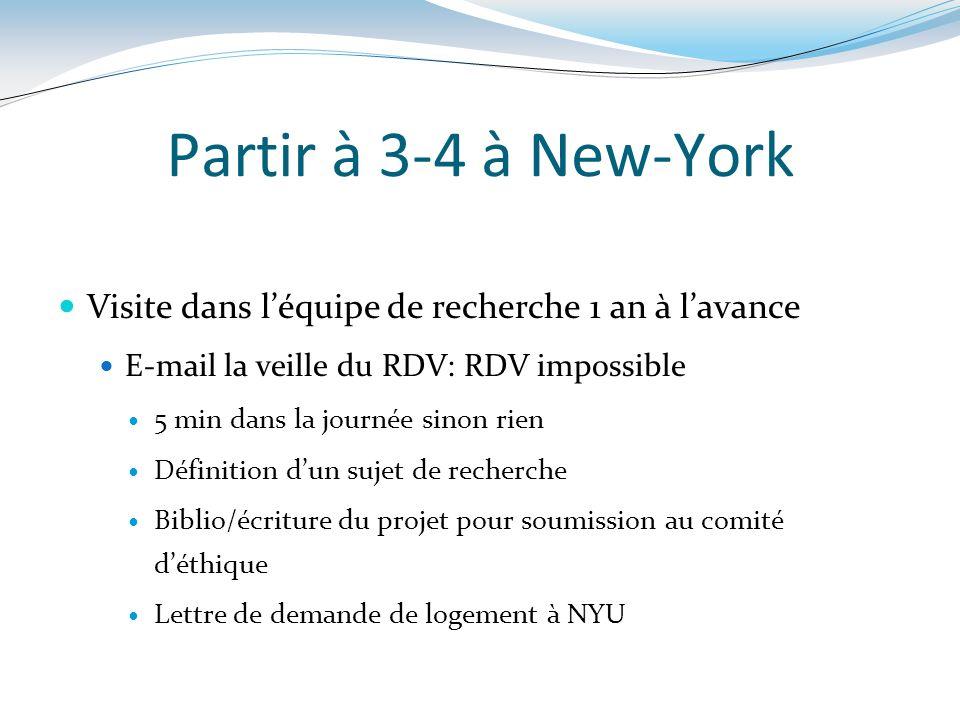 Partir à 3-4 à New-York Visite dans léquipe de recherche 1 an à lavance E-mail la veille du RDV: RDV impossible 5 min dans la journée sinon rien Défin