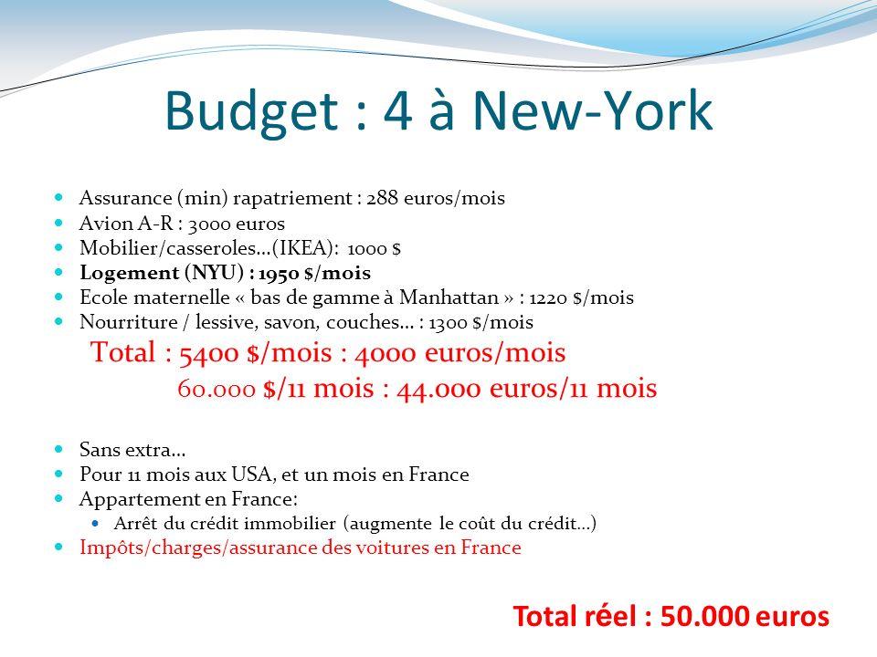 Budget : 4 à New-York Assurance (min) rapatriement : 288 euros/mois Avion A-R : 3000 euros Mobilier/casseroles…(IKEA): 1000 $ Logement (NYU) : 1950 $/
