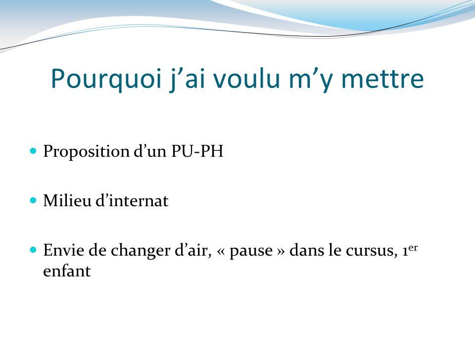Pourquoi jai voulu my mettre Proposition dun PU-PH Milieu dinternat Envie de changer dair, « pause » dans le cursus, 1 er enfant