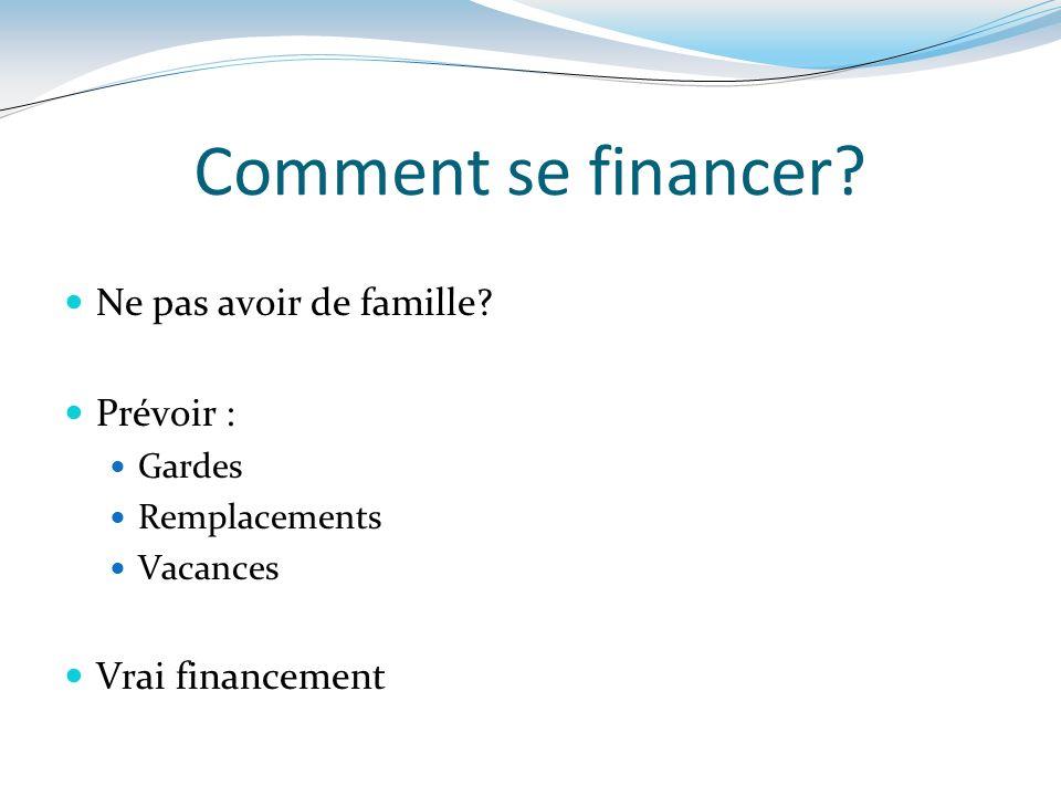 Comment se financer? Ne pas avoir de famille? Prévoir : Gardes Remplacements Vacances Vrai financement