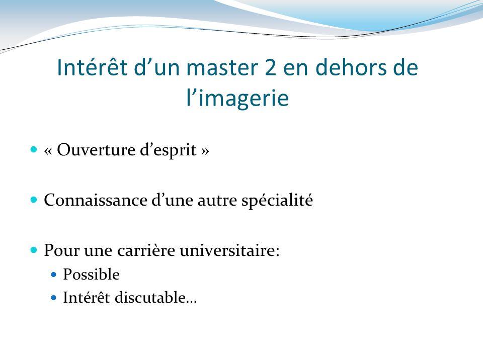 Intérêt dun master 2 en dehors de limagerie « Ouverture desprit » Connaissance dune autre spécialité Pour une carrière universitaire: Possible Intérêt