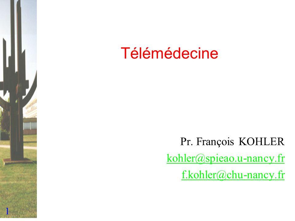 2 Définition et domaines « Exercice de la médecine à distance » Domaines –Télé-consultation et télé-diagnostic –Télé-expertise –Télé-surveillance –Télé-coopération –Télé-enseignement