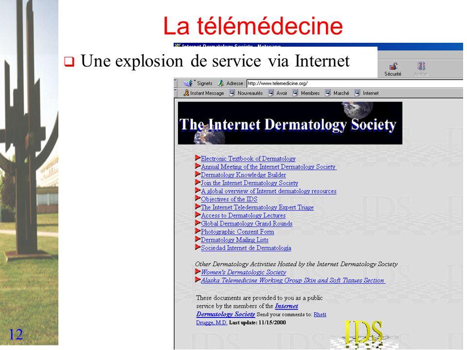 12 La télémédecine Une explosion de service via Internet