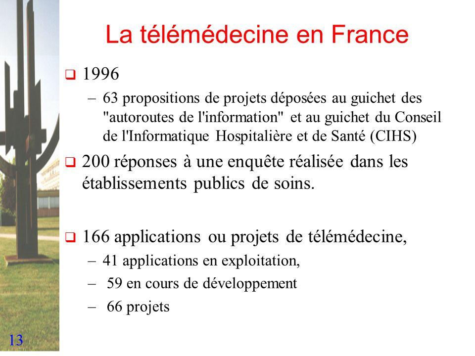 13 La télémédecine en France 1996 –63 propositions de projets déposées au guichet des