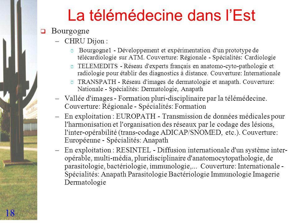 18 La télémédecine dans lEst Bourgogne –CHRU Dijon : ‡ Bourgogne1 - Développement et expérimentation d'un prototype de télécardiologie sur ATM. Couver