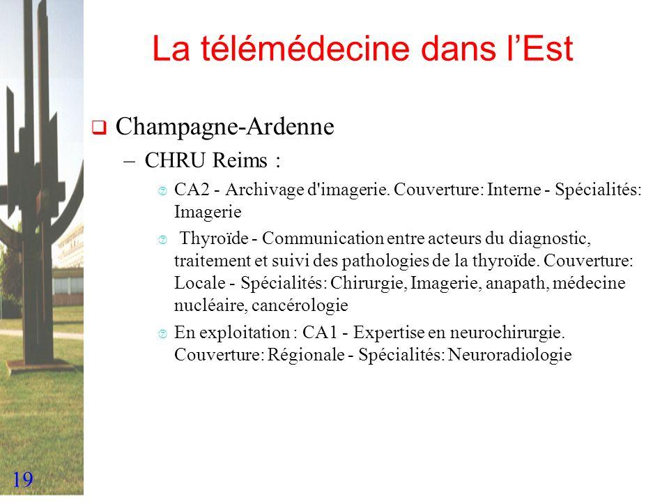 19 La télémédecine dans lEst Champagne-Ardenne –CHRU Reims : ‡ CA2 - Archivage d'imagerie. Couverture: Interne - Spécialités: Imagerie ‡ Thyroïde - Co