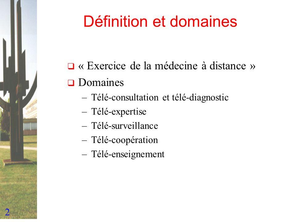 2 Définition et domaines « Exercice de la médecine à distance » Domaines –Télé-consultation et télé-diagnostic –Télé-expertise –Télé-surveillance –Tél