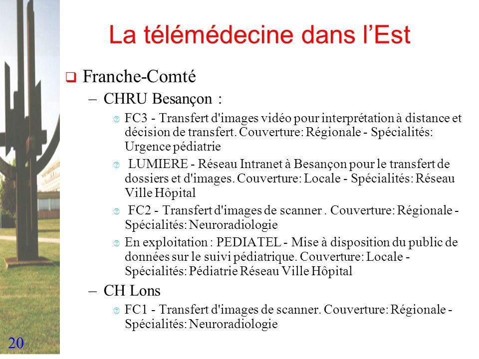 20 La télémédecine dans lEst Franche-Comté –CHRU Besançon : ‡ FC3 - Transfert d'images vidéo pour interprétation à distance et décision de transfert.