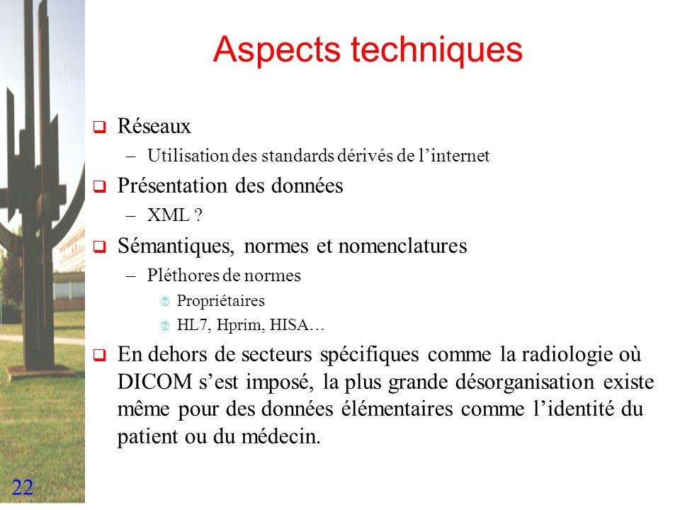 22 Aspects techniques Réseaux –Utilisation des standards dérivés de linternet Présentation des données –XML ? Sémantiques, normes et nomenclatures –Pl
