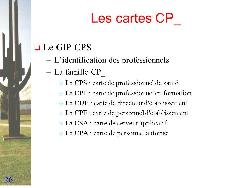 26 Les cartes CP_ Le GIP CPS –Lidentification des professionnels –La famille CP_ ‡ La CPS : carte de professionnel de santé ‡ La CPF : carte de profes