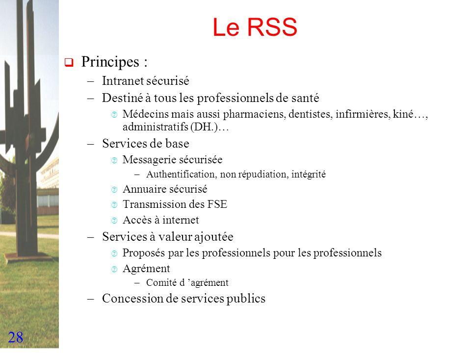 28 Le RSS Principes : –Intranet sécurisé –Destiné à tous les professionnels de santé ‡ Médecins mais aussi pharmaciens, dentistes, infirmières, kiné…,