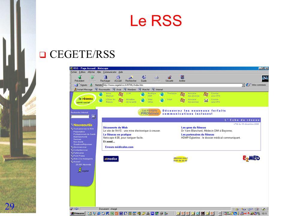 29 Le RSS CEGETE/RSS