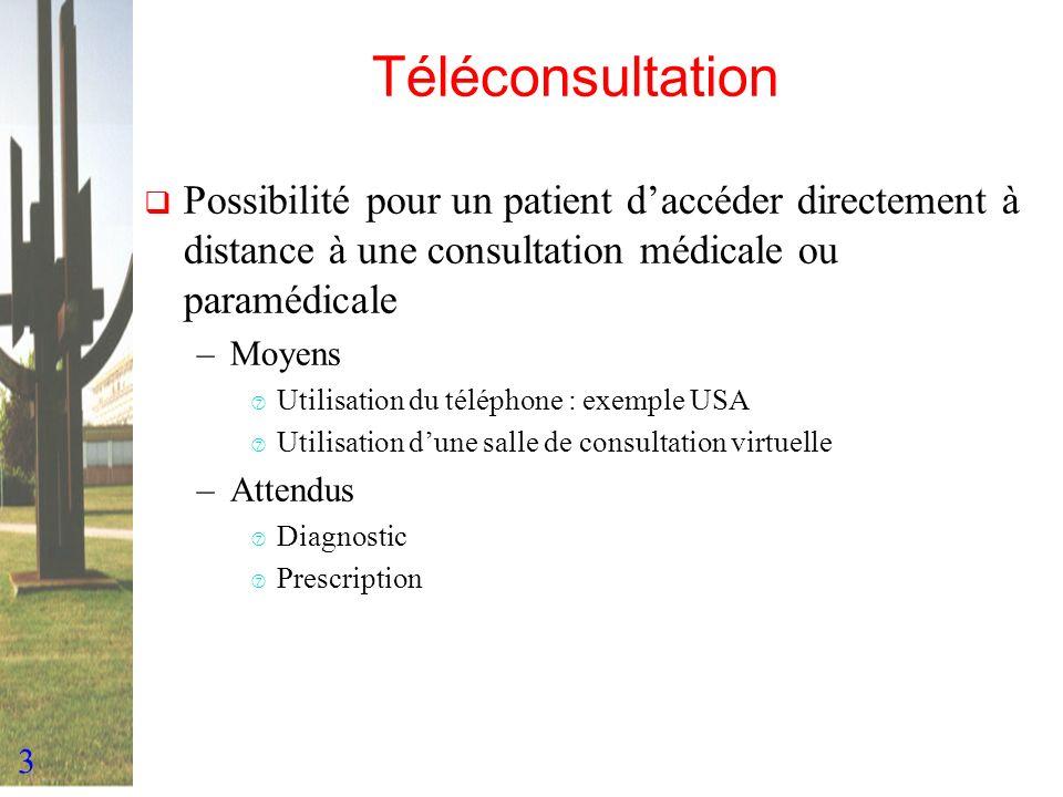3 Téléconsultation Possibilité pour un patient daccéder directement à distance à une consultation médicale ou paramédicale –Moyens ‡ Utilisation du té