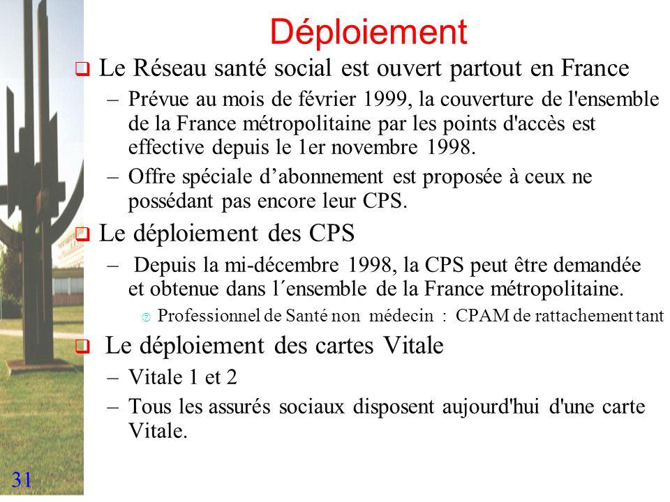 31 Déploiement Le Réseau santé social est ouvert partout en France –Prévue au mois de février 1999, la couverture de l'ensemble de la France métropoli