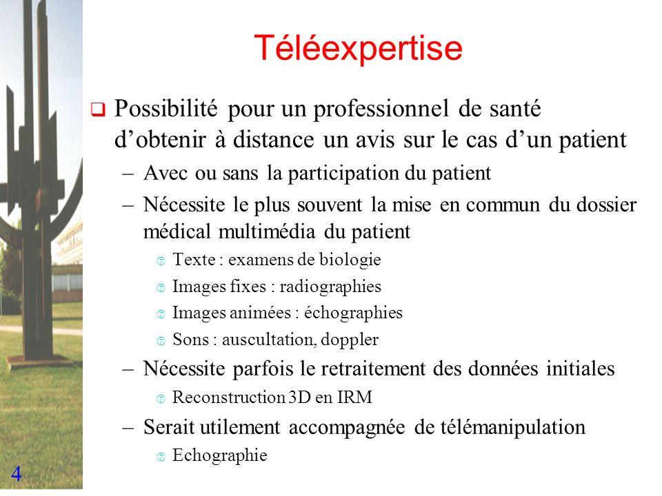 4 Téléexpertise Possibilité pour un professionnel de santé dobtenir à distance un avis sur le cas dun patient –Avec ou sans la participation du patien