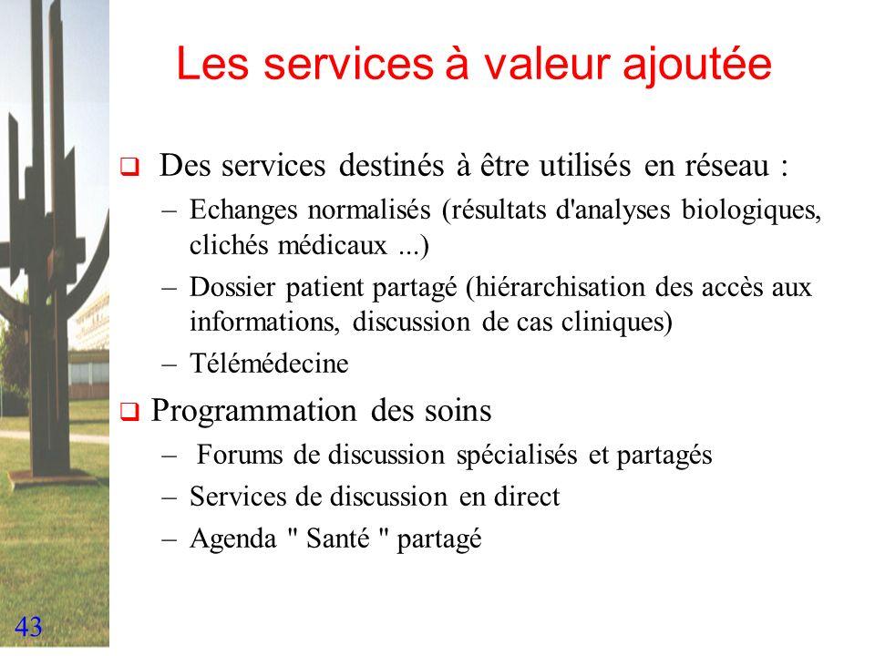 43 Les services à valeur ajoutée Des services destinés à être utilisés en réseau : –Echanges normalisés (résultats d'analyses biologiques, clichés méd