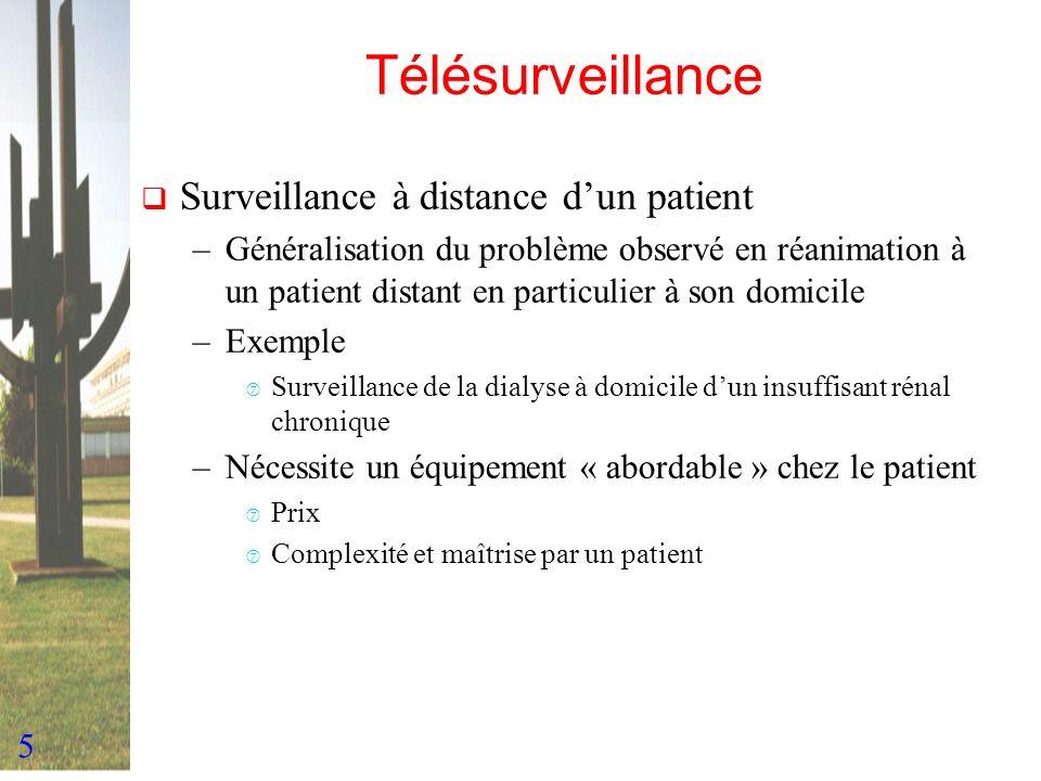 5 Télésurveillance Surveillance à distance dun patient –Généralisation du problème observé en réanimation à un patient distant en particulier à son do