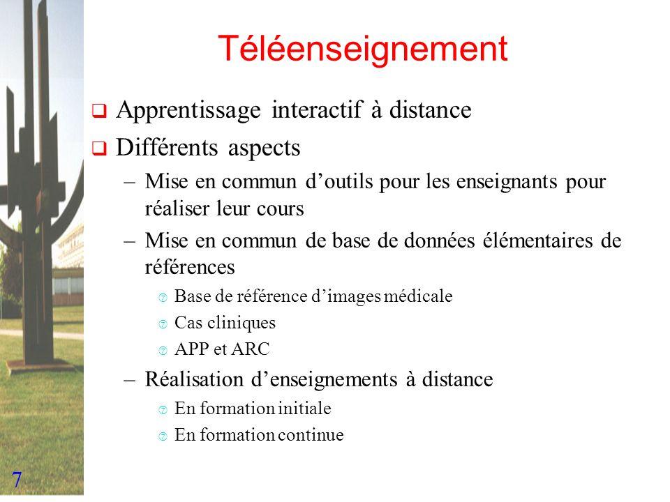 7 Téléenseignement Apprentissage interactif à distance Différents aspects –Mise en commun doutils pour les enseignants pour réaliser leur cours –Mise