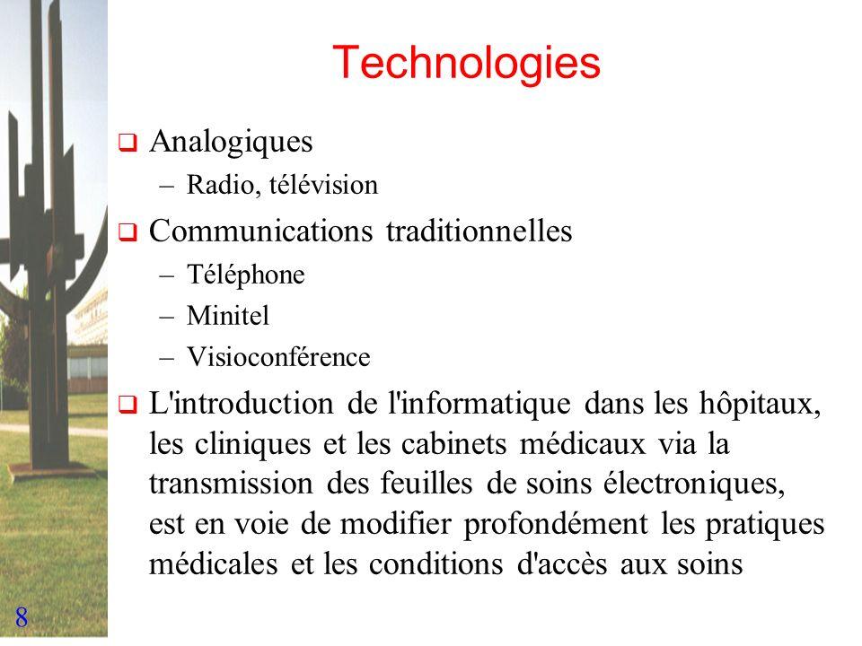 8 Technologies Analogiques –Radio, télévision Communications traditionnelles –Téléphone –Minitel –Visioconférence L'introduction de l'informatique dan