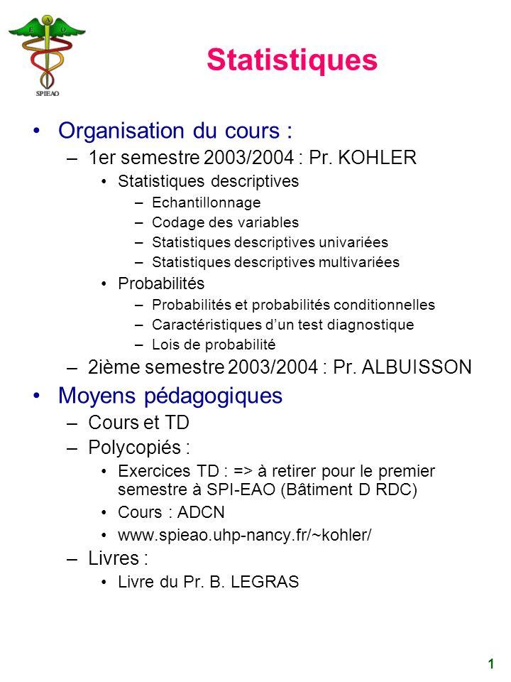 1 Statistiques Organisation du cours : –1er semestre 2003/2004 : Pr. KOHLER Statistiques descriptives –Echantillonnage –Codage des variables –Statisti