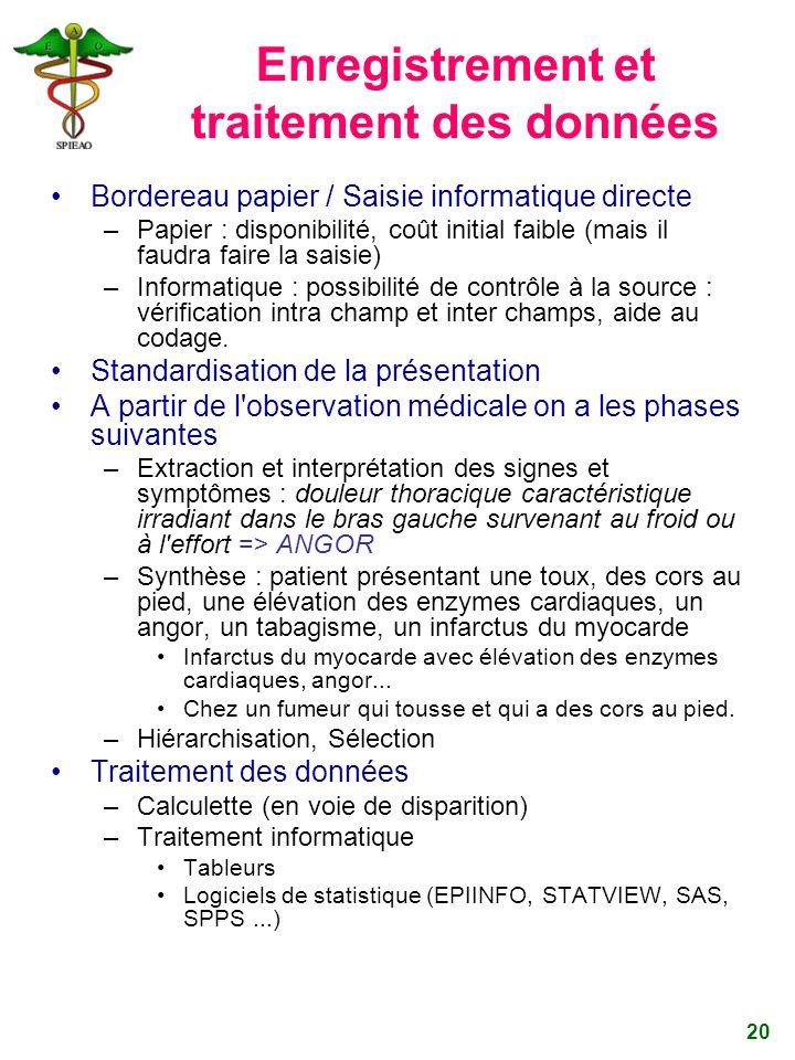 20 Enregistrement et traitement des données Bordereau papier / Saisie informatique directe –Papier : disponibilité, coût initial faible (mais il faudr