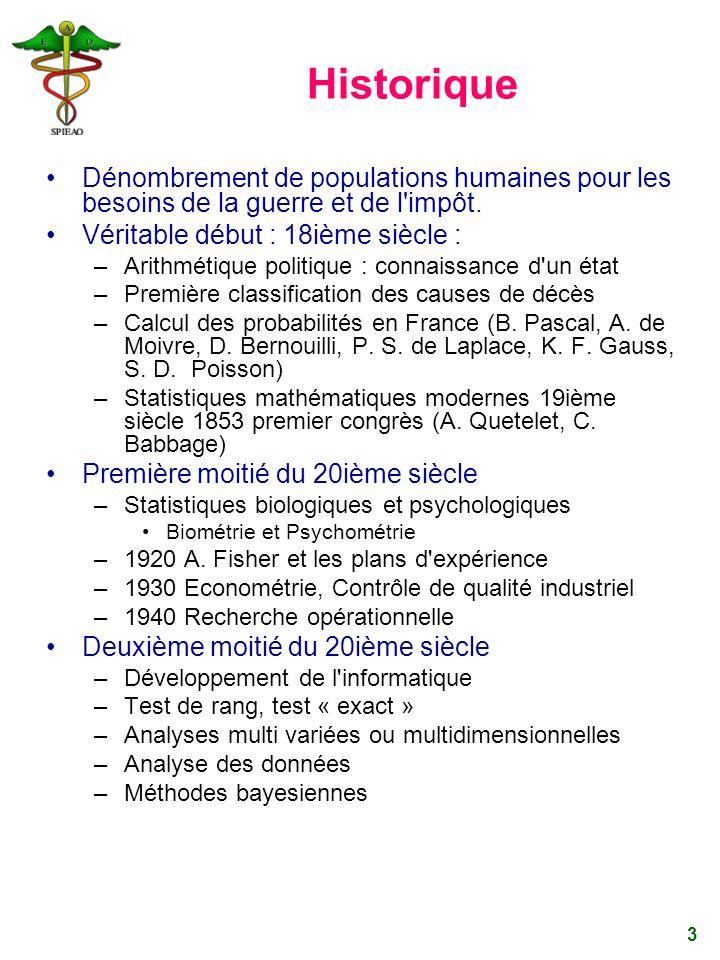 3 Historique Dénombrement de populations humaines pour les besoins de la guerre et de l'impôt. Véritable début : 18ième siècle : –Arithmétique politiq