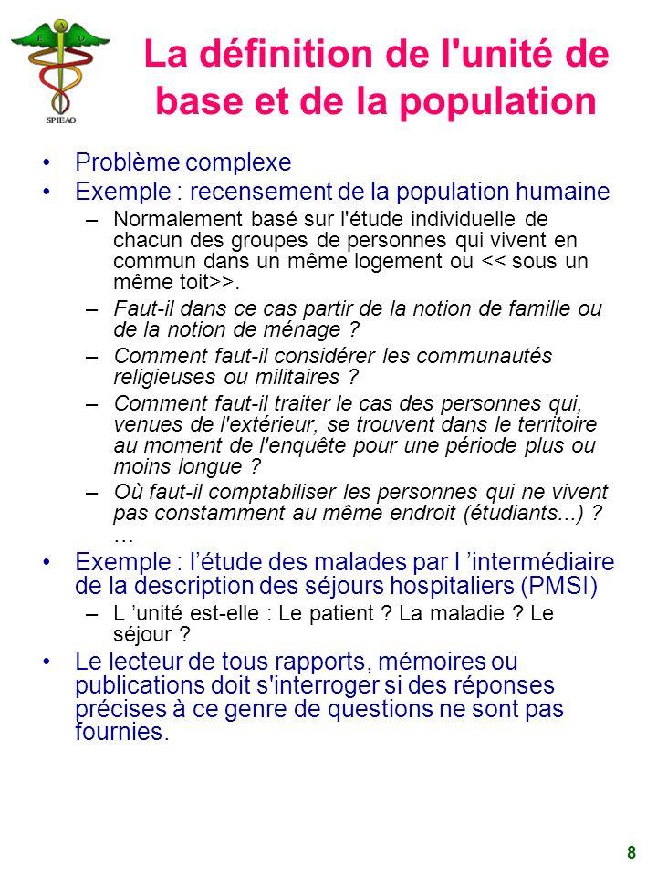 8 La définition de l'unité de base et de la population Problème complexe Exemple : recensement de la population humaine –Normalement basé sur l'étude
