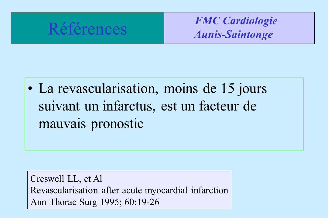 Références La revascularisation, moins de 15 jours suivant un infarctus, est un facteur de mauvais pronostic FMC Cardiologie Aunis-Saintonge Creswell