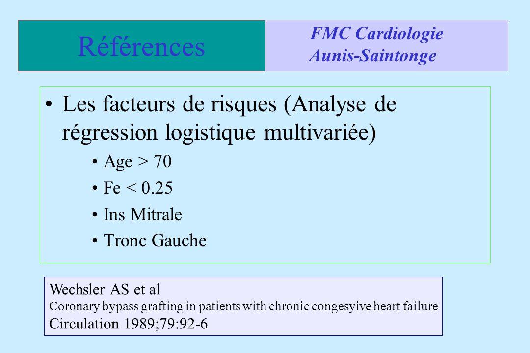 Références Les facteurs de risques (Analyse de régression logistique multivariée) Age > 70 Fe < 0.25 Ins Mitrale Tronc Gauche FMC Cardiologie Aunis-Sa