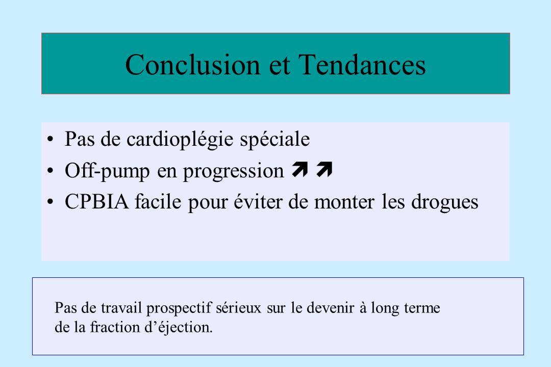 Conclusion et Tendances Pas de cardioplégie spéciale Off-pump en progression CPBIA facile pour éviter de monter les drogues Pas de travail prospectif