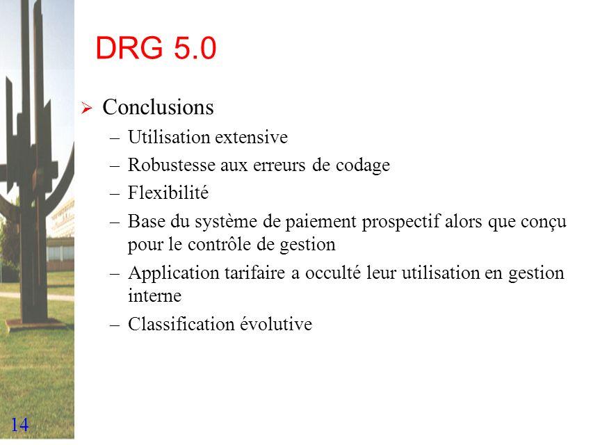 14 DRG 5.0 Conclusions –Utilisation extensive –Robustesse aux erreurs de codage –Flexibilité –Base du système de paiement prospectif alors que conçu p