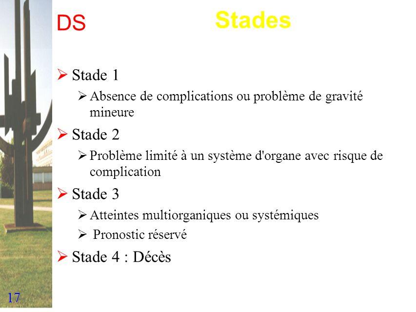 17 DS Stade 1 Absence de complications ou problème de gravité mineure Stade 2 Problème limité à un système d'organe avec risque de complication Stade