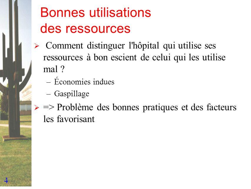 4 Bonnes utilisations des ressources Comment distinguer l'hôpital qui utilise ses ressources à bon escient de celui qui les utilise mal ? –Économies i