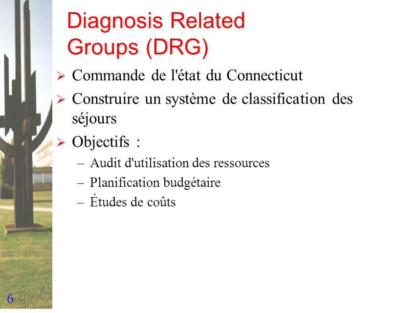 6 Diagnosis Related Groups (DRG) Commande de l'état du Connecticut Construire un système de classification des séjours Objectifs : –Audit d'utilisatio