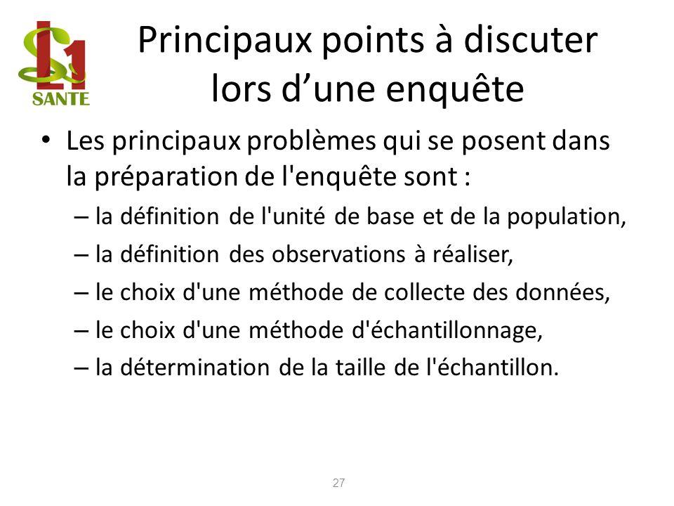 Principaux points à discuter lors dune enquête Les principaux problèmes qui se posent dans la préparation de l'enquête sont : – la définition de l'uni
