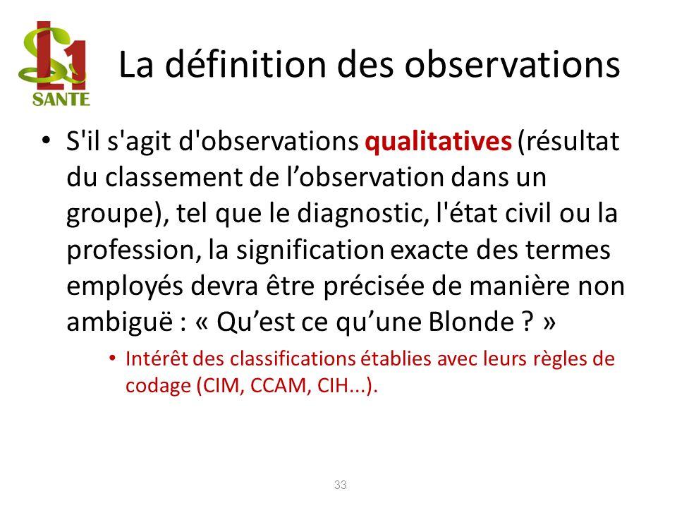 La définition des observations S'il s'agit d'observations qualitatives (résultat du classement de lobservation dans un groupe), tel que le diagnostic,