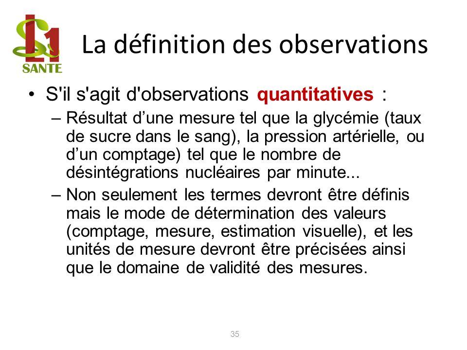 La définition des observations S'il s'agit d'observations quantitatives : –Résultat dune mesure tel que la glycémie (taux de sucre dans le sang), la p