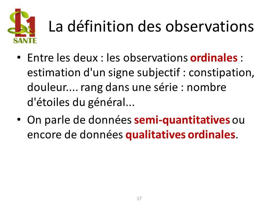 La définition des observations Entre les deux : les observations ordinales : estimation d'un signe subjectif : constipation, douleur.... rang dans une