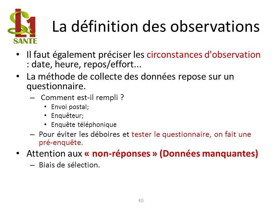 La définition des observations 40 Il faut également préciser les circonstances d'observation : date, heure, repos/effort... La méthode de collecte des